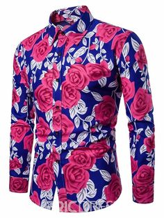 Lapel Rose Print Leisure Men's Shirt Fashion girls, party dresses long dress for short Women, casual summer outfit ideas, party dresses Fashion Trends, Latest Fashion # Floral Shirt Dress, Floral Print Shirt, Flower Shirt, Dress Shirt, Best Casual Shirts, Mens Shirts Online, Men Online, Rugged Style, Fall Shirts
