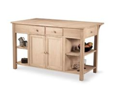 Parawood Super Kitchen Island w/Breakfast Bar (Built)UNFINISHED FURNITURE - Real Solid Wood Furniture