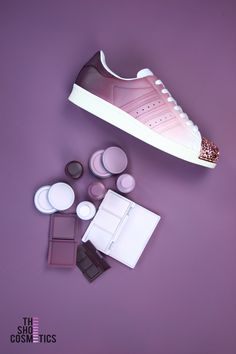 1ea04d555e0 Our cute women s Rose gold Adidas Superstar custom sneakers.  TheShoeCosmetics themed