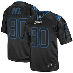 Elite Mens Nike Detroit Lions #90 Ndamukong Suh Lights Out Black NFL Jersey