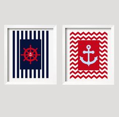 Regatta Nautical Prints in navy red and baby blue by YassisPlace, $49.99