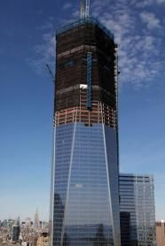 4/30/12. One World Trade Center, the monolith being built to replace the twin towers destroyed in the Sept. 11 attacks, claimed the title of New York City's tallest skyscraper on Monday, as workers erected steel columns that made its unfinished skeleton a little over 1,250 feet high, just enough to peek over the roof of the observation deck on the Empire State Building. (David B. Caruso and photo by Mark Lennihan, both from Associated Press)