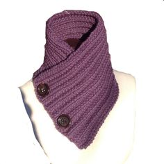 Knit Scarf with Buttons Purple Chunky  The by EterKnity Creations
