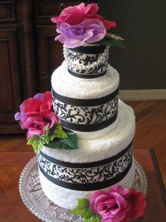 bridal shower towel cake   bridal shower towel cake   Towel Cake Ideas