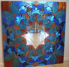 Items similar to Mosaic Mirror Blue and Copper Large Handmade Glitter Glass on Etsy Mosaic Artwork, Mirror Mosaic, Mirror Art, Mosaic Glass, Stained Glass Designs, Stained Glass Projects, Stained Glass Art, Blue Room Decor, Kaleidoscope Images