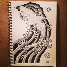 #Japanese #style #tattoo inspiration! How about a #shark instead of a traditional #koi fish?  #inktober day 9.  #ink #doodle #dotwork #sleeve #sketch #sketchbook #greatwhite