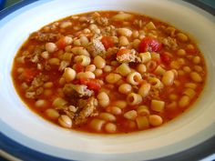 Italian Pasta and Bean Soup (Pasta E Fagioli). This is a great recipe from Cooks Illustrated. I use pancetta. I would never use American bacon in it. It's a delicious soup.