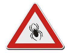 Dreieckiges Verkehrsschild Vorsicht Spinnen
