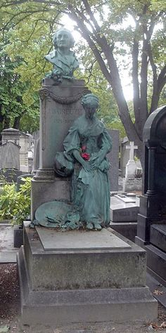 """Gravesite & monument of painter Jean-Baptiste Greuze (1725–1805) at Montmartre Cemetery. [Statue la Cruche cassée, by Ernest Dagonet (1856-1926)]. At the funeral of the long neglected old man, a young woman deeply veiled & overcome with emotion laid upon the coffin, just before its removal, a bouquet of immortelles & withdrew to her devotions. Around the stem was a paper inscribed: """"These flowers offered by the most grateful of his students are emblems of his his glory."""" It was Mlle Mayer."""