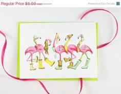 Pink Flamingo greeting card ON SALE, Amelie cards and prints  Amelie Legault