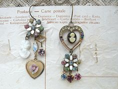 spring heart cameo earrings mismatch charm by lilyofthevally