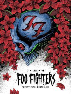 Foo Fighters Fenway Park Poster By Brandon Heart Release Rock Festival, Concert Festival, Foo Fighters Poster, Art Hippie, Rock Band Posters, Tour Posters, Music Posters, Retro Posters, Pochette Album