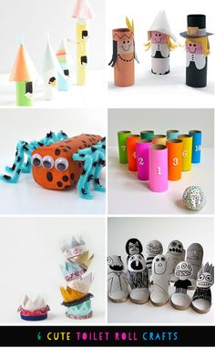 6 cute toilet paper crafts for kids via Love From Ginger