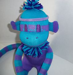 Sock Monkey Purple and Turquoise Stripe by ChickSprings on Etsy, $21.95