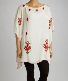 Another great find on #zulily! White Tribal Embroidered Cape-Sleeve Tunic - Plus #zulilyfinds