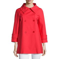 Michael Kors Collection 3/4-Sleeve Double-Breasted Peacoat (1,160 CAD) ❤ liked on Polyvore featuring outerwear, coats, scarlet, three quarter coat, pea jacket, red double breasted coat, a-line double breasted peacoat and oversized coat
