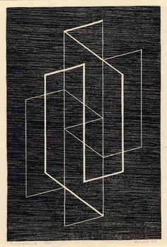 'Multiplex A' by German-born American artist & Bauhaus master Josef Albers Woodcut, x on. via the albers foundation Josef Albers, Anni Albers, Op Art, Design Art, Graphic Design, Art Plastique, Artist Art, Geometric Shapes, Line Art