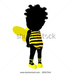 Little african american bumble bee girl on a white background Girls Series 993439c03