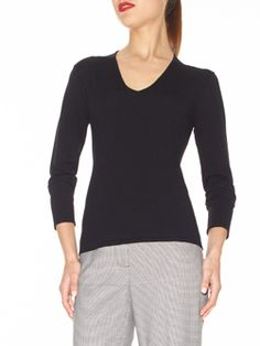 "Doncaster.com-M225SW33BLA. V-Neck Sweater in Lush Stretch Viscose. Full length sleeves, tubular trim at neckline, tubular start at cuffs and hem, fully fashioned. Unlined, 24""."