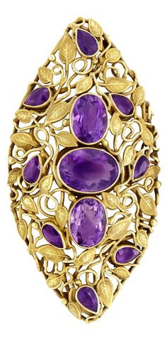 An antique gold and amethyst brooch, circa 1900. #antique #brooch