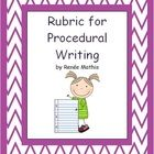 This is a simple, easy to read rubric for procedural writing, based on the Ontario Curriculum Overall Expectations