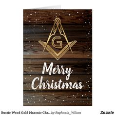 Rustic Wood Gold Masonic Christmas Cards Rustic Gifts, Wood Gifts, Masonic Gifts, Masonic