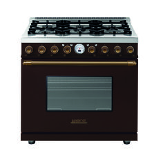 Range DECO 36'' Classic Brown matte, Bronze - Range with a traditional design and an unparalleled level of cooking flexibility. The main oven is electric multi-mode self-clean. On the worktop, the range always features 6 brass burners and an electric griddle layout.