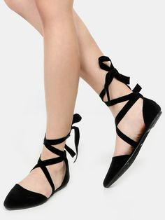 Shop Pointy Toe Lace Up Flats BLACK online. SheIn offers Pointy Toe Lace Up…
