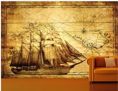 awesome wall decor - get it here! http://www.wallmuralshop.com/full-wall-vintageantique-style-explorer-mapatlasglobedecorating-wallpaper-mural-art-3--free-delivery-op-uk-234-p.asp