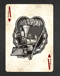 Golden Spike Bicycle® Playing Cards by Jody  — Kickstarter.  The Ace of Hearts is depicted by the Central Pacific steam engine Jupiter.   FINAL DAYS TO GET YOUR DECK ON KICKSTARTER!