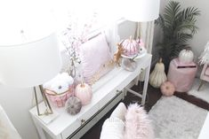 Decorate for fall with blush pink, white and gold accents! home décor; how to decorate for fall. Fall Floral Arrangements, Velvet Pumpkins, Gold Accents, Console Table, Room Inspiration, Office Decor, Blush Pink, Affair, Pink White