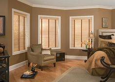 Contemporary Window blinds for living room with brown wall paint colors