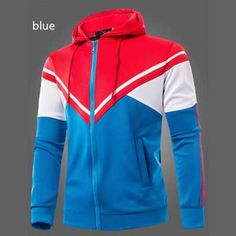 41c8eb514 Color Block Triangle Spliced Patch Pocket Drawstring Hooded Long Sleeves  Slimming Hoodie For Men (WATER