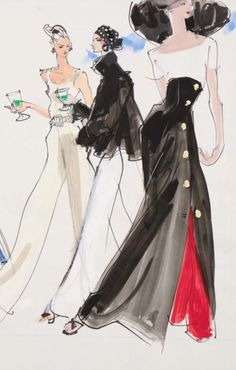 Fashion illustration by Kenneth Paul Block (1925–2009), 1988, design by Calvin Klein  Louis Dell'Olio, Donna Karan, Fairchild Publications.