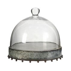 Metal Plate with Glass Dome found on Polyvore featuring home, kitchen & dining, serveware, clear, metal serveware, colored glass plates, metal plate, colored plates and glass serveware