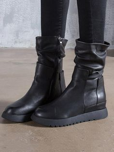 02cbdf26fbff Black Fold Zipper Cow Leather Short Boots – moongor