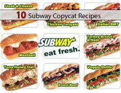 10 Subway Copycat Recipes http://www.livinggreenandfrugally.com/10-subway-copycat-recipes/