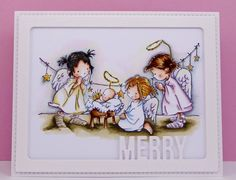 Honey Bootique: Lili Of The Valley- Nativity Angels My First Christmas, Xmas, Stamped Christmas Cards, Card Maker, Lily Of The Valley, Digital Stamps, Copic, Nativity, Honey