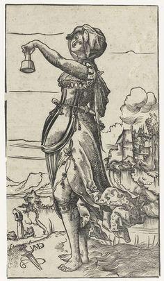 Dwaze maagd met uitgedoofde olielamp in landschap, Niklaus Manuel Deutsch, 1518