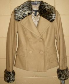 INC NEW Tan Camel Double Breasted Short Pea Coat Faux Fur Collar & Cuffs XS Wool