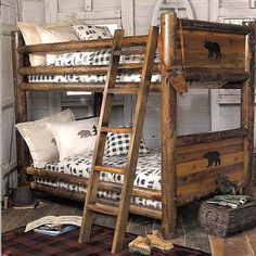 rustic cabin decor - cabin by the lake bedroom decor - cabin in the woods bedroom decorating ideas - moose fishing camping hunting lodge bedrooms for boys - black bear decor - rustic furniture - lodge cabin log cabin themed bedroom decorating ideas Rustic Bedroom Furniture, Rustic Bedding, Log Furniture, Country Furniture, Rustic Bunk Beds, Black Bear Decor, Log Bed, Bunk Bed Designs, Loft Spaces