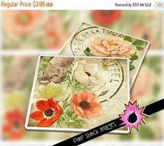"""SALE: Digital Coaster Collage Sheet - Printable VINTAGE Flowers Coaster Kit - 3.8"""" Square Digital Coasters - Printable Coaster Collage Sheet #4x4Coasters #SquareCoasters #4InchCoaster #PrintableGraphics #coasters #LargeSquareImages #GiftTagsPrintable #ImagesForCoasters #CoasterKit #PrintableCollage"""