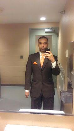 Mens Wearhouse wedding tuxedo. Brown/orange base. 36S jacket, 14 shirt, SM vest, and 30/30 pant.