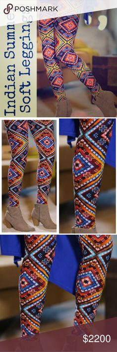 """•Indian Summer Print Soft Leggings• Super buttery soft leggings-beautiful aztec tribal boho print, perfect for spring! Similar to LLR OS. They offer the perfect warmth, length & fit. A closet staple for me & customer 5🌟 rated favorite. Check out my closet for other colors/prints/tunics/lace extenders to pair w/ these & bundle for a discount. I am a 12 & 5'9"""" tall, they fit perfect (last 2 pics), model is a 2/4 & 5'4"""" tall, so these fit wide range of sizes. Waist has comfy soft elastic…"""
