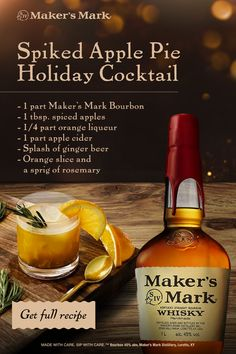 Perfect for the holidays, this Maker's Mark cocktail comes to us from Maya-Camille Broussard, noted baker behind Justice of the Pies. Inspired by fresh baked pie and absolutely delicious! Liquor Drinks, Cocktail Drinks, Alcoholic Drinks, Beverages, Christmas Cocktails, Holiday Cocktails, Manhattan Recipe, Smoothies, Bloody Mary Recipes