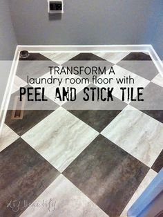 Peel and stick tile is a budget-friendly option for a laundry room floor makeover that can be done in a day and completely transform your space!