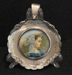Fine Miniature Hand Painting Virgin Mary in Sterling Silver Frame - Italy 925 Silver, Sterling Silver, Silver Tops, Virgin Mary, 1930s, Miniatures, Angel, Hand Painted, Italy