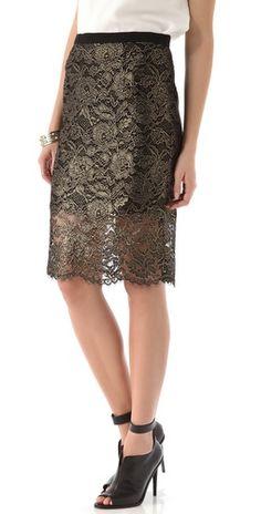 Tibi Foil Lace Pencil Skirt