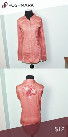 NWT Light Pink Button Down Embroidered Shirt In excellent condition! Very comfortable, soft, and flattering! Buy 3 items and get 1 free plus 15% off your purchase total! Tops