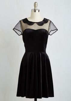 My Usual Haunt Dress. Sport this adorably edgy A-line in your fave locations, and each place you go will feel anything but ordinary! #black #modcloth